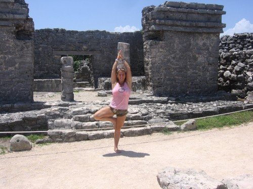 Alison in Tree Pose at the Mayan Ruins in Tulum, Mexico